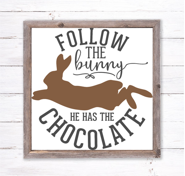 Follow the Easter Bunny Sign | Wreath Sign Attachment | Farmhouse Spring Sign