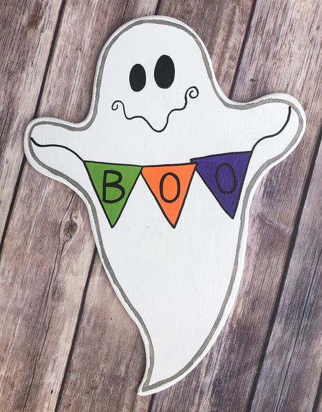 Boo Halloween Ghost Sign Purple, Wreath Sign Attachment, Halloween Sign