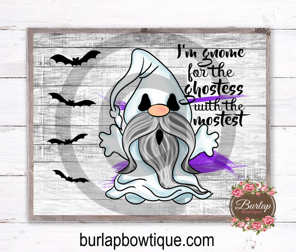 Halloween Ghost Gnome Sign, Wreath Sign Attachment, Halloween Sign