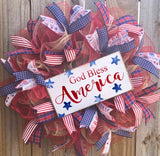 God Bless America Patriotic Wreath Kit, Rustic Farmhouse Wreath Kit, Wreath Supplies
