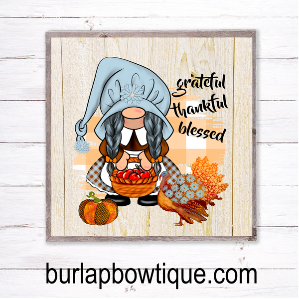 Grateful Thankful Blessed Fall Gnome Sign, Wreath Sign Attachment, Rustic Sign, Farmhouse Decor