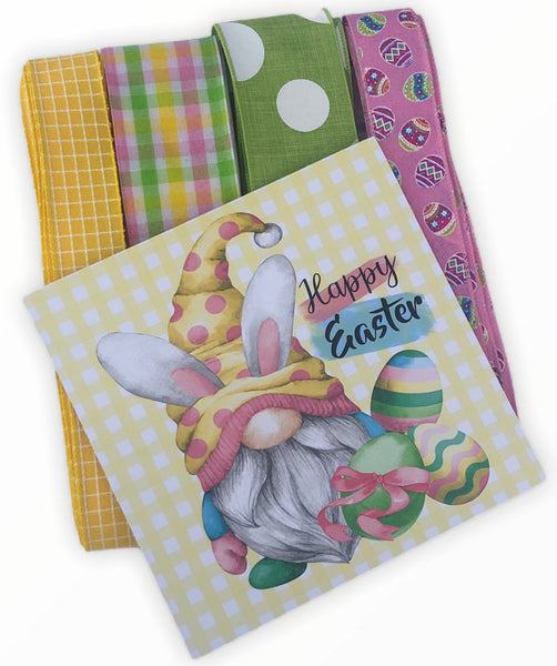 Happy Easter Gnome Sign and Ribbon Combo Kit,  Easter Spring Wreath Kit, Wreath Supplies, Easter Bunny