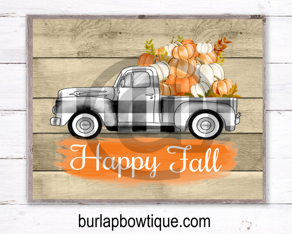 Happy Fall Truck Sign, Wreath Sign Attachment, Rustic Sign, Farmhouse Decor