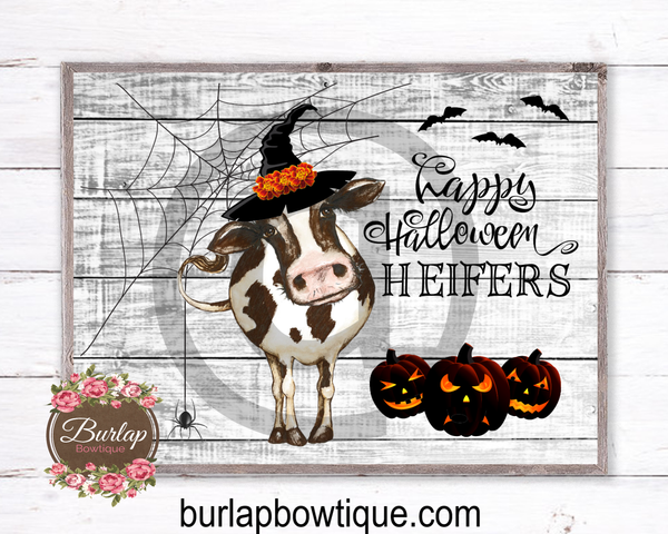Happy Halloween Heifers Sign, Wreath Sign Attachment, Halloween Sign