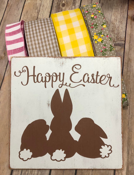 Rustic Happy Easter Bunny Sign and Ribbon Kit,  Spring Easter Rabbit Wreath Kit, Wreath Supplies