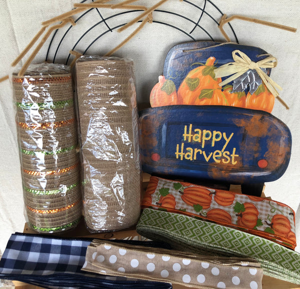 Happy Harvest Fall Wreath Kit, Autumn Fall Wreath Kit, Wreath Supplies