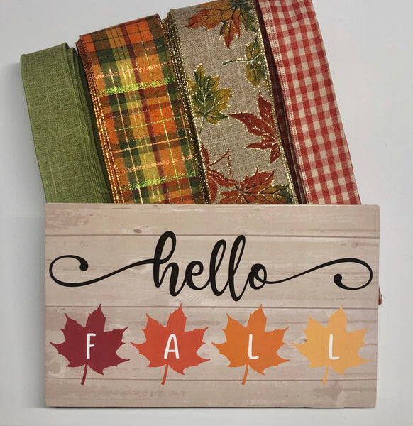 Hello Fall Leaves Fall Sign and Ribbon Kit, Thanksgiving Wreath Kit, Wreath Supplies