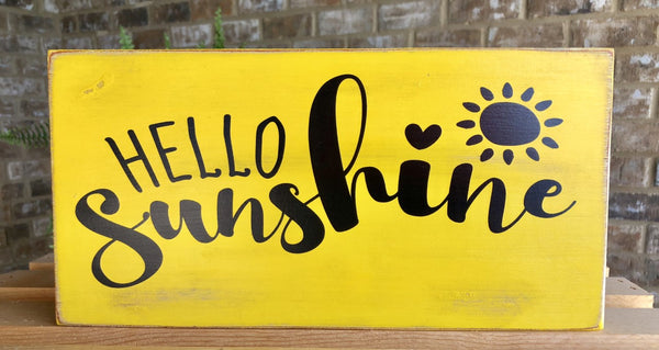 HELLO SUNSHINE Sign, Wreath Sign Attachment, Welcome Sign, Rustic Sign, Farmhouse Decor