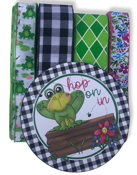 Hop on In  Frog Sign and Ribbon Combo Kit, Spring Wreath Kit, Wreath Supplie