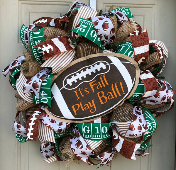 Fall Football Wreath | Football Decor | Front Door Decor | Door Hanger |  Mesh Wreath