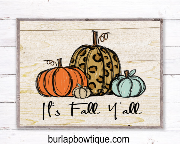 Fall Pumpkins Leopard Sign, Wreath Sign Attachment, Rustic Sign, Farmhouse Decor