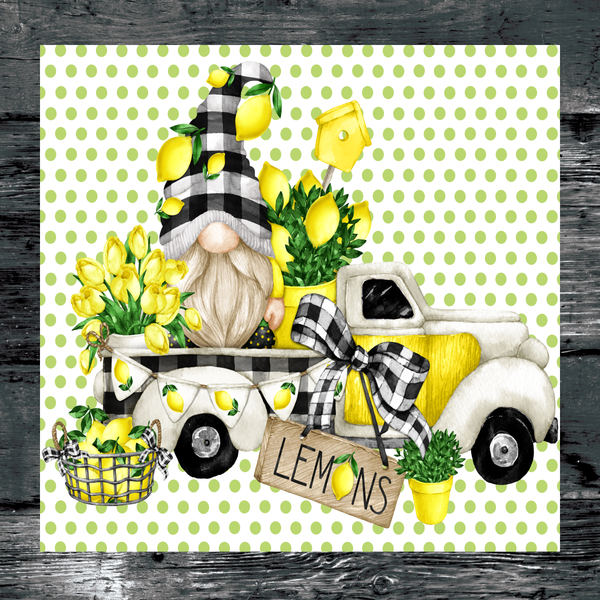 Lemon Gnome Truck Summer Sign, Wreath Sign Attachment, Rustic Sign. Summer Decor, Farmhouse