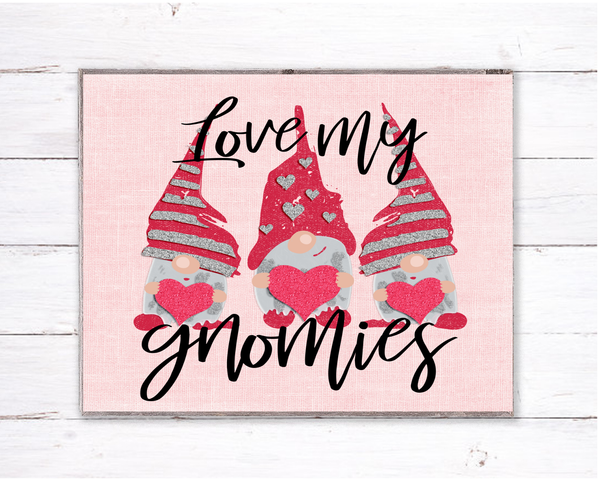 Love My Gnomies Valentine Sign, Wreath Sign Attachment, Rustic Sign, Farmhouse Decor