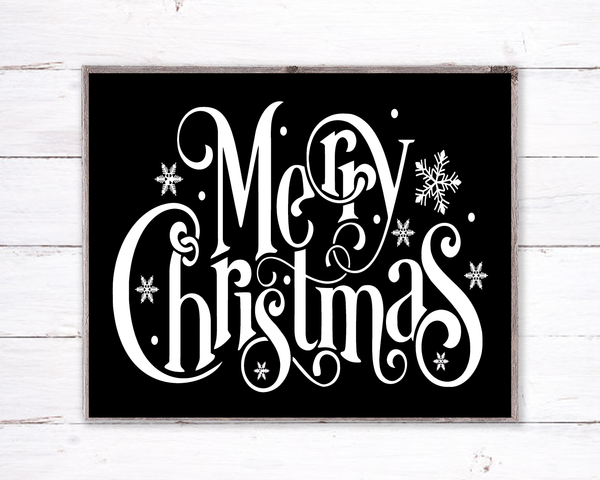 Merry Christmas Black Holiday Sign, Wreath Sign Attachment, Rustic Sign, Farmhouse Decor