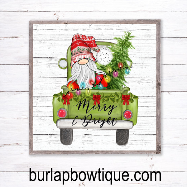 Christmas Santa Gnome Holiday Sign, Wreath Sign Attachment, Rustic Sign, Farmhouse Decor