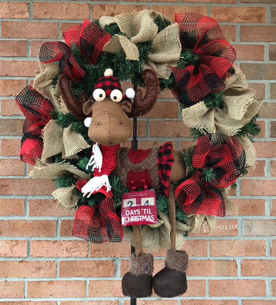 Rustic MOOSE Christmas Mesh Outdoor Front Door Wreath