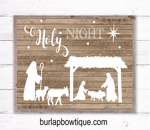 O Holy Night Nativity Christmas Sign, Wreath Sign Attachment, Rustic Sign, Farmhouse Decor