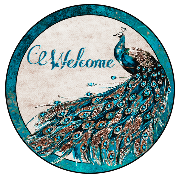 Peacock Welcome Sign, Door Hanger,  Peacock Sign, Wreath Supplies