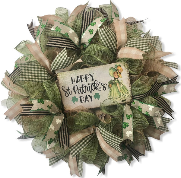 Vintage Happy St. Patrick's Day Shamrock Wreath or Kit | St. Patrick's Day Wreath Kit | DIY Wreath Kit, #SP002