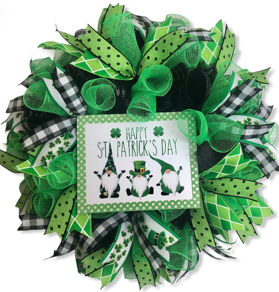 Happy St. Patrick's Day Gnome Wreath, St. Patrick's Day Decor, Door Hanger, Farmhouse Decor