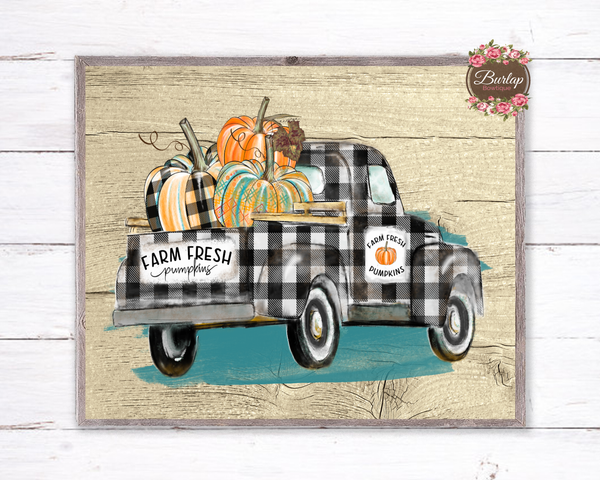 Fall Buffalo Plaid Pumpkin Truck Sign, Wreath Sign Attachment, Rustic Sign, Farmhouse Decor