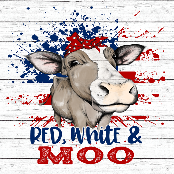 Red White & Moo Patriotic Cow Sign, Wreath Sign Attachment, Everyday Decor, Sign