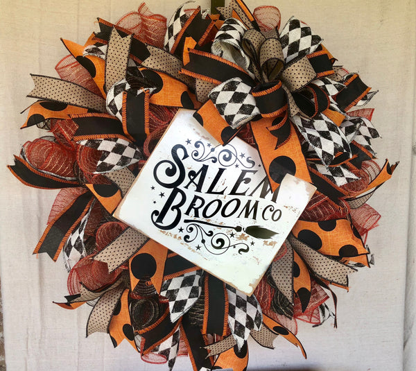 Salem Broom Co Halloween Wreath | Rustic Vintage Wreath Decor | Front Door Decor | Door Hanger
