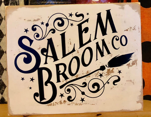 Salem Broom Co Halloween Sign, Rustic Vintage Wreath Sign Attachment