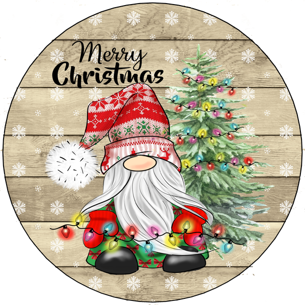 Merry Christmas Santa Gnome Holiday Sign, Wreath Sign Attachment, Rustic Sign, Farmhouse Decor
