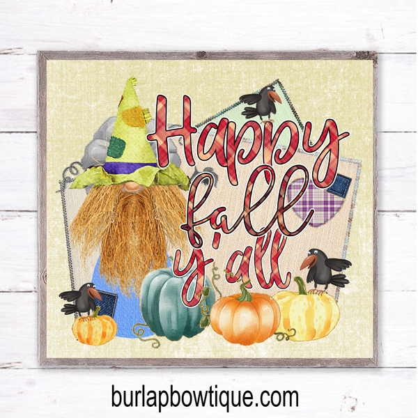 Fall Scarecrow Gnome Sign, Wreath Sign Attachment, Rustic Sign, Farmhouse Decor