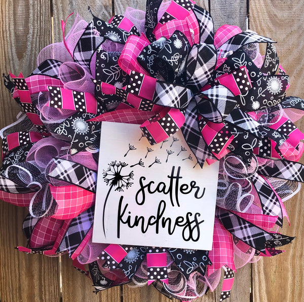 Scatter Kindness Wreath,  Everyday Wreath Decor, Door Hanger, Farmhouse Decor