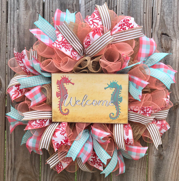 Seahorse Summer Beach Wreath Kit, Everyday Wreath Kit, Wreath Supplies