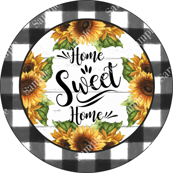 Home Sweet Home Buffalo Plaid SUNFLOWER Sign, Door Hanger, Wreath Supplies