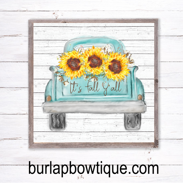 Fall Sunflower Vintage Truck Sign, Wreath Sign Attachment, Rustic Sign, Farmhouse Decor