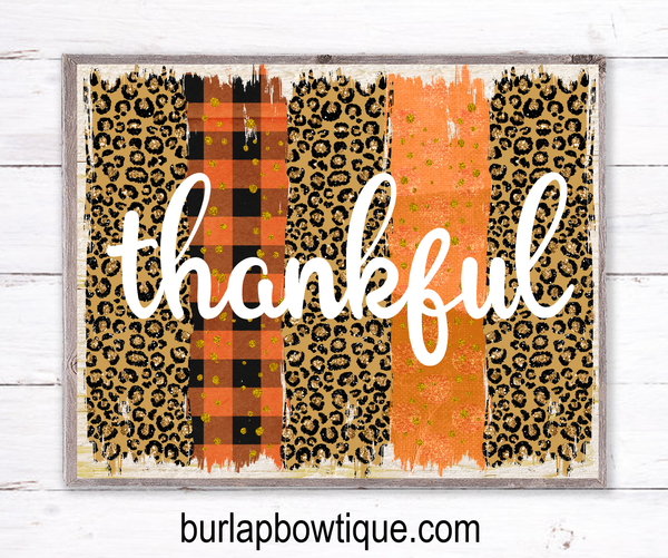 Fall Thankful Leopard Sign, Wreath Sign Attachment, Rustic Sign, Farmhouse Decor