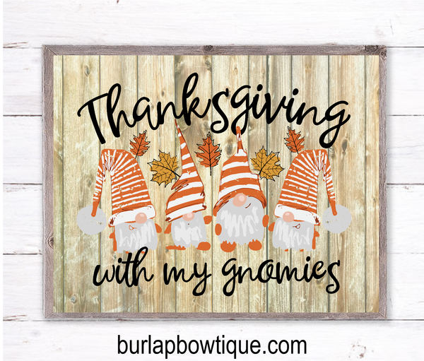Thanksgiving with Gnomies Fall Sign, Wreath Sign Attachment, Rustic Sign, Farmhouse Decor