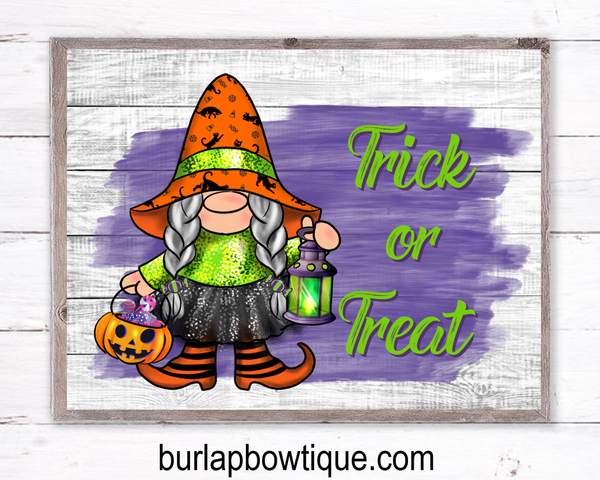 Trick or Treat Gnome Halloween Sign, Wreath Sign Attachment, Halloween Sign