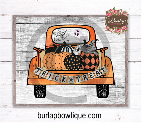 Vintage Halloween Truck Sign, Wreath Sign Attachment, Halloween Sign, Framable Artprint