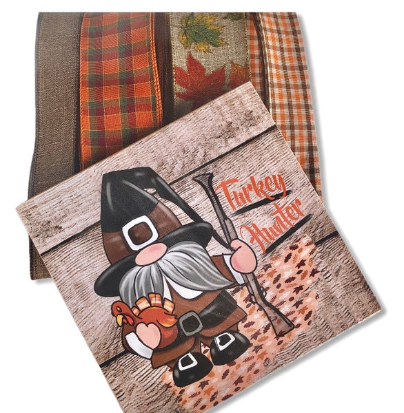 Thanksgiving Turkey Gnome Fall Sign and Ribbon Kit, Thanksgiving Wreath Kit, Wreath Supplies