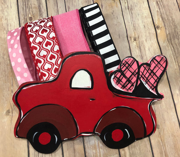 Red Truck Pink Hearts Valentine Sign and Ribbon Kit,  Valentine Wreath Kit, Wreath Supplies