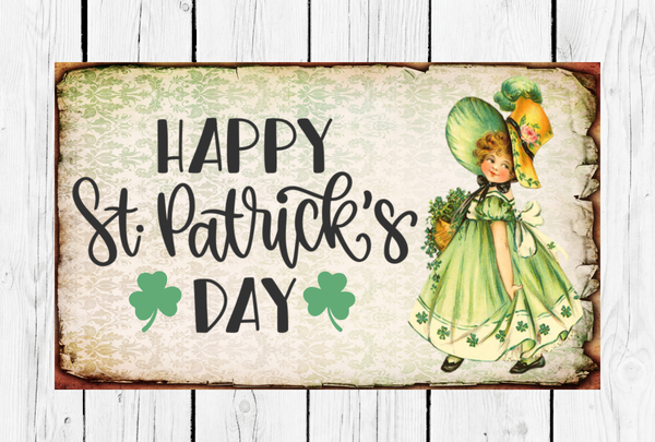 Vintage Happy St. Patrick's Day Gnomes Sign | Wreath Sign Attachment | Irish Sign