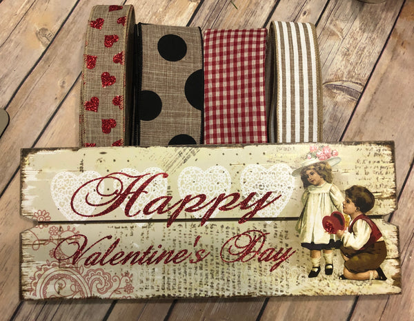 Vintage Valentine Sign and Ribbon Kit,  Valentine Wreath Kit, Wreath Supplies