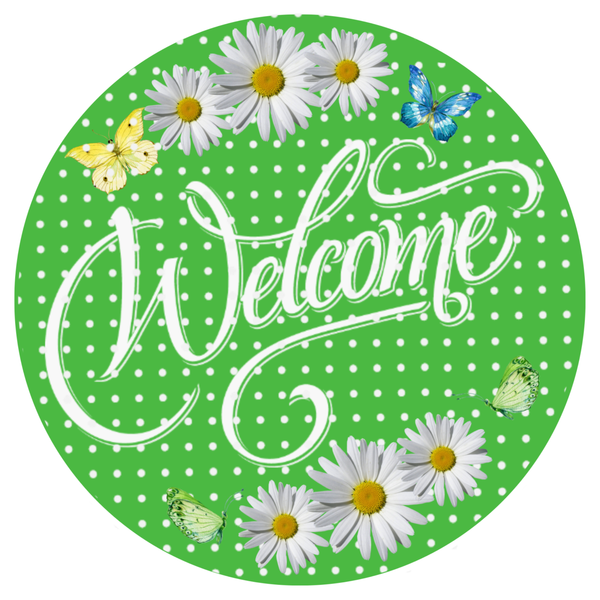 Welcome Daisy Green Sign, Door Hanger, Spring Decor, Wreath Supplies
