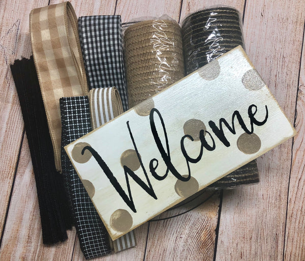 Welcome Everyday Wreath Kit, Rustic Farmhouse Wreath Kit, Wreath Supplies