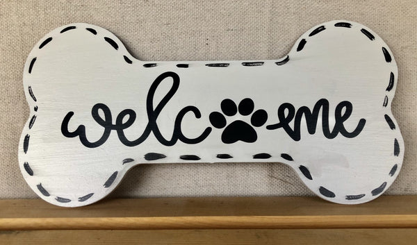 Welcome Dog Sign, Wreath Sign Attachment, Welcome Sign, Rustic Sign, Farmhouse Decor