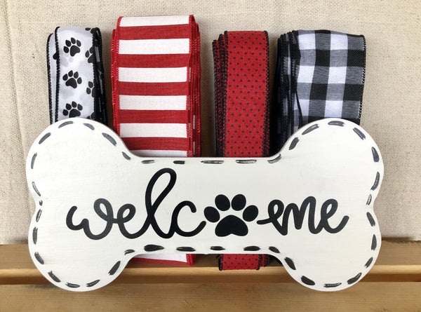 Welcome DOG Sign and Ribbon Kit, Everyday Pet Lover Wreath Kit, Wreath Supplies