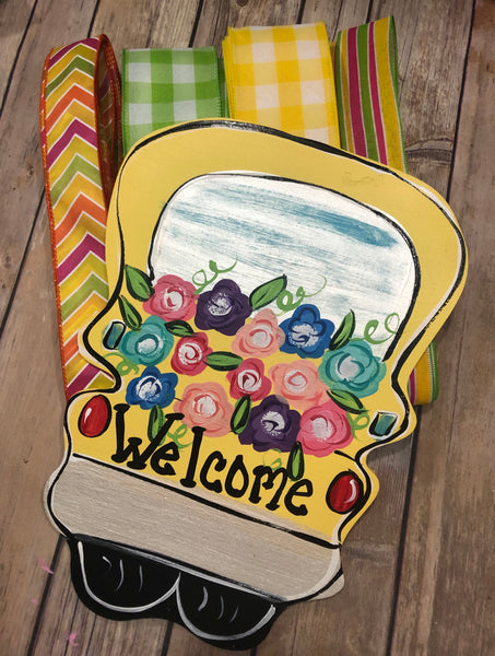Welcome Truck Spring Sign and Ribbon Kit, Wreath Kit, Wreath Supplies