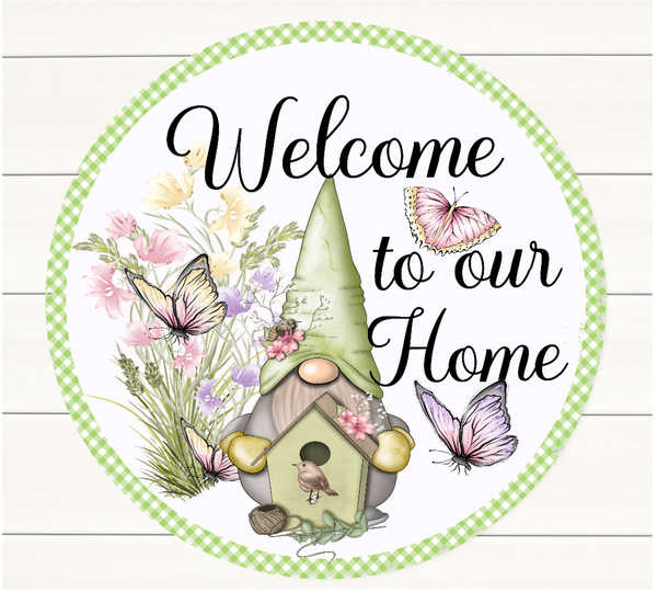 Spring Gnome Sign,  Welcome To Our Home Sign, Wreath Sign Attachment, Rustic Sign