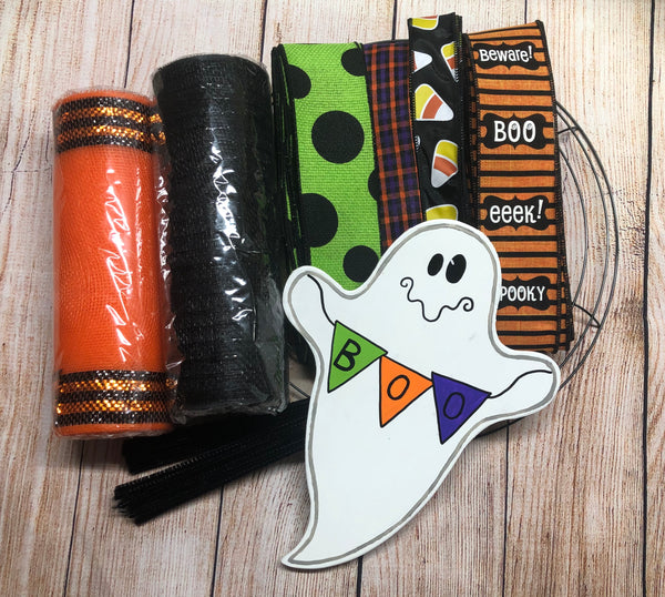 Halloween Ghost Wreath Kit, Cute Ghost Wreath Kit, Wreath Supplies