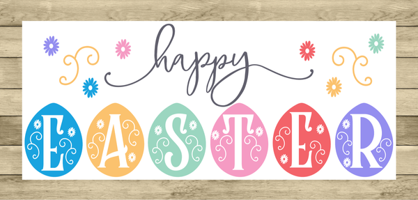Happy Easter Vintage Sign | Wreath Sign Attachment | Farmhouse Spring Sign
